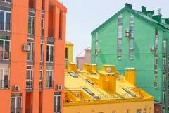 抽象空中背景大厦五颜六色的庄园安置的实际住宅视图 房地产和住房 免版税图库摄影