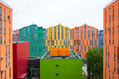 抽象空中背景大厦五颜六色的庄园安置的实际住宅视图 免版税图库摄影