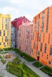 抽象空中背景大厦五颜六色的庄园安置的实际住宅视图 免版税库存图片