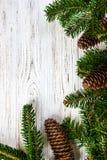 抽象空白背景圣诞节黑暗的装饰设计模式红色的星形 与锥体拷贝空间的树枝 免版税库存图片