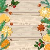 抽象空白背景圣诞节黑暗的装饰设计模式红色的星形 冷杉分支、曲奇饼和桔子在木背景 库存例证