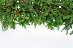 抽象空白背景圣诞节黑暗的装饰设计模式红色的星形 圣诞节在白色木背景的杉树 免版税库存图片