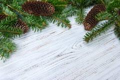抽象空白背景圣诞节黑暗的装饰设计模式红色的星形 杉树分支杉木锥体在木桌上 平的位置,文本的空间 库存图片