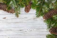 抽象空白背景圣诞节黑暗的装饰设计模式红色的星形 杉树分支杉木锥体在木桌上 平的位置,文本的空间 图库摄影