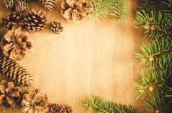 抽象空白背景圣诞节黑暗的装饰设计模式红色的星形 锥体和分支在框架 库存照片