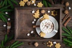 抽象空白背景圣诞节黑暗的装饰设计模式红色的星形 盘子用可可粉和曲奇饼,装饰用桂香和蛋白软糖 库存图片