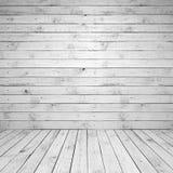 抽象空的白色木室内部 库存照片