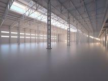 抽象空的仓库内部 免版税图库摄影