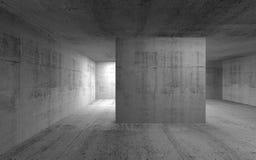 抽象空的黑暗的具体内部 3d回报 免版税库存照片