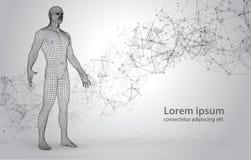 抽象空间背景的3D Polygona人与连接的小点和线 库存照片