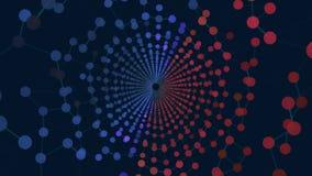 抽象空间背景、几何表面、线和点 抽象网格隧道 免版税库存照片