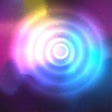抽象空间背景和一个圈子与火光 向量例证