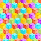 抽象立方体城市无缝的样式 库存照片