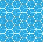 抽象立方体蓝色背景,无缝的样式 免版税库存图片