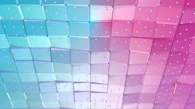 抽象简单的蓝色桃红色低多3D表面和飞行的白色水晶作为时髦的3D背景 软的几何低落 股票视频