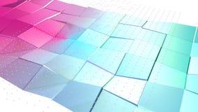 抽象简单的蓝色桃红色低多3D表面和飞行的白色水晶作为普遍的背景 软几何低多 皇族释放例证