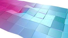 抽象简单的蓝色桃红色低多3D表面和飞行的白色水晶作为有趣的背景 软几何低多 向量例证