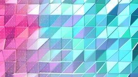 抽象简单的蓝色桃红色低多3D表面和飞行的白色水晶当几何背景 软几何低多 皇族释放例证