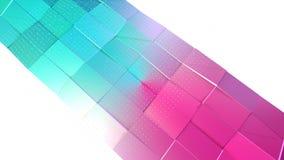 抽象简单的蓝色桃红色低多3D表面和飞行的白色水晶当时尚环境 软几何低多 向量例证