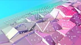 抽象简单的蓝色桃红色低多3D表面和飞行的白色水晶当算术环境 软几何低多 皇族释放例证