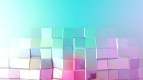 抽象简单的蓝色桃红色低多3D表面当科学幻想小说背景 软的几何低多行动背景  影视素材