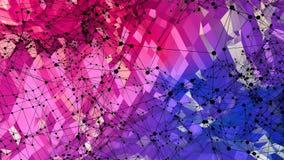 抽象简单的蓝色红色低多3D表面当计算机环境 软的几何低多行动背景与 皇族释放例证