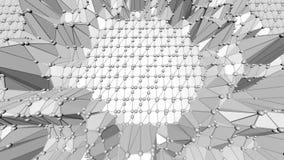 抽象简单的黑白低多挥动的3D表面作为可爱的背景 灰色几何振动的环境或 皇族释放例证