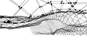 抽象简单的黑白挥动的3D栅格或滤网作为豪华环境 灰色几何振动的环境或 向量例证