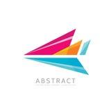 抽象箭头-导航商标模板在平的样式的概念例证 风格化飞机创造性的标志 五颜六色的设计要素 库存例证