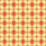 抽象米黄和红色花卉几何无缝的纹理 库存照片