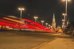 抽象红色光从刹车灯的 免版税库存图片