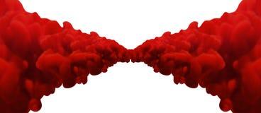 抽象红色合并的墨水 免版税库存图片