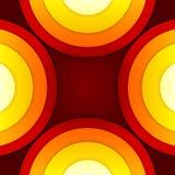 抽象红色和橙色圈子传染媒介背景 免版税图库摄影