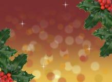 抽象红色和金bokeh圣诞节背景用霍莉莓果 免版税库存照片