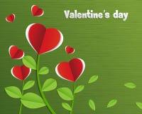 抽象红色纸心脏树 免版税库存图片