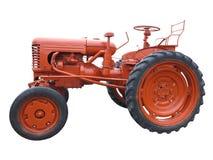 抽象红色老拖拉机被隔绝在白色 免版税库存照片