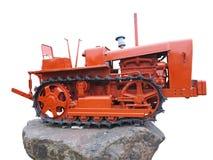 抽象红色老拖拉机被隔绝在白色 库存照片