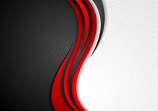 抽象红色黑灰色波浪技术背景 向量例证