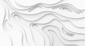 抽象纸削减了白色背景 地形学峡谷航图灯安心纹理、弯曲的层数和阴影 纸艺术3d 皇族释放例证