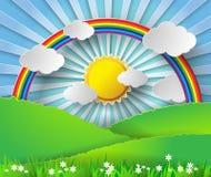 抽象纸彩虹和阳光 也corel凹道例证向量 免版税库存图片