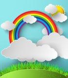 抽象纸彩虹 也corel凹道例证向量 图库摄影