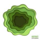 抽象纸雕刻绿色背景 库存图片