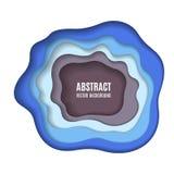 抽象纸雕刻蓝色背景 库存照片