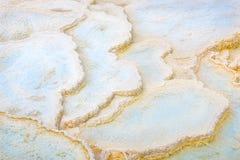 抽象纹理 石灰华水池,一个大阳台的形成在马默斯斯普林斯的 黄石公园,美国 免版税图库摄影