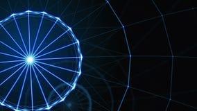 抽象线、三角和小点的结节 弗累斯大转轮 圈动画 股票录像