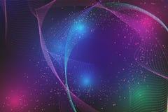 抽象线波浪和与拷贝空间的微粒背景现代设计;您的企业和网横幅的传染媒介例证 向量例证