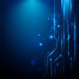 抽象线电路蓝色和白光背景 免版税库存照片