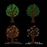 抽象结构树-四个季节 免版税库存照片