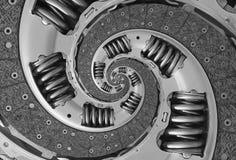 抽象综合卡车汽车传力片螺旋分数维样式背景 汽车传动器部分被扭转的螺旋被变形的分数维 免版税库存图片