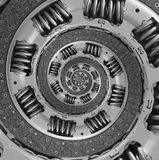 抽象综合卡车汽车传力片螺旋分数维样式背景 汽车传动器部分被扭转的螺旋被变形的分数维 免版税图库摄影